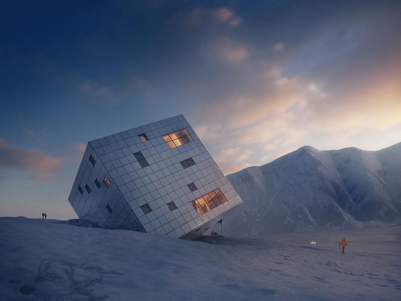casa cubo sobre nieve 2