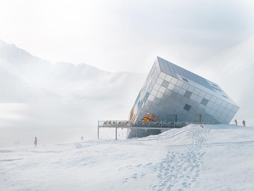 casa cubo sobre nieve 3