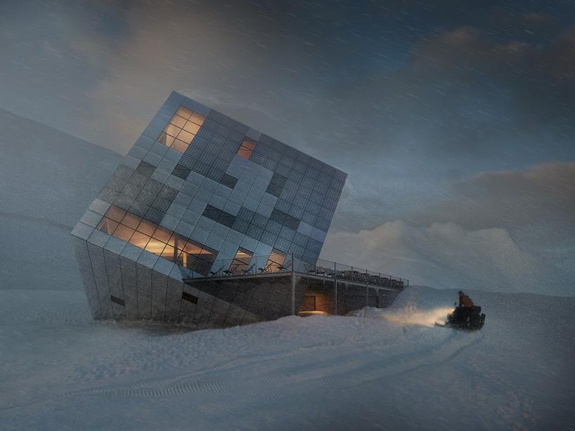 casa cubo sobre nieve