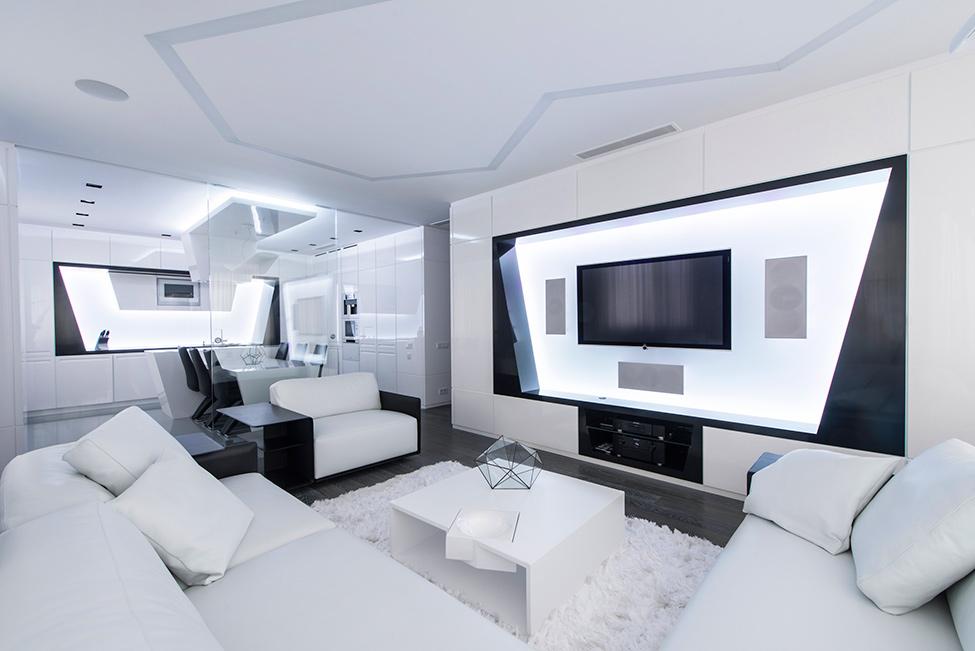 Geometria en blanco y negro en un apartamento de Moscu 1