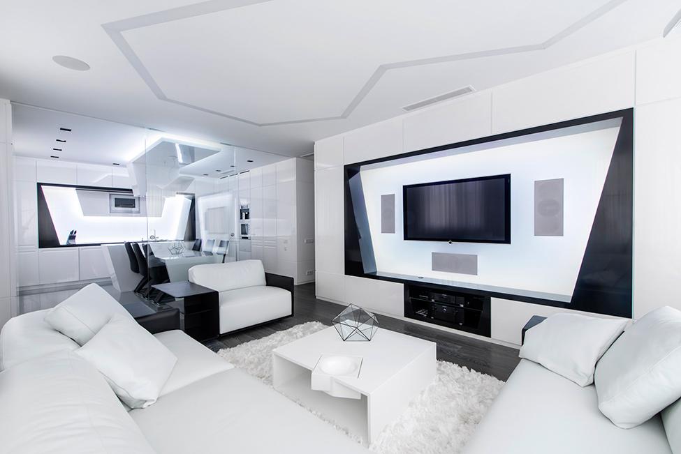 Geometria en blanco y negro en un apartamento de Moscu 3
