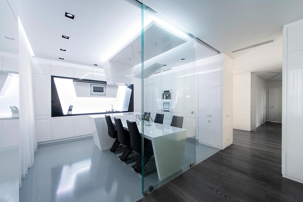 Geometria en blanco y negro en un apartamento de Moscu 5