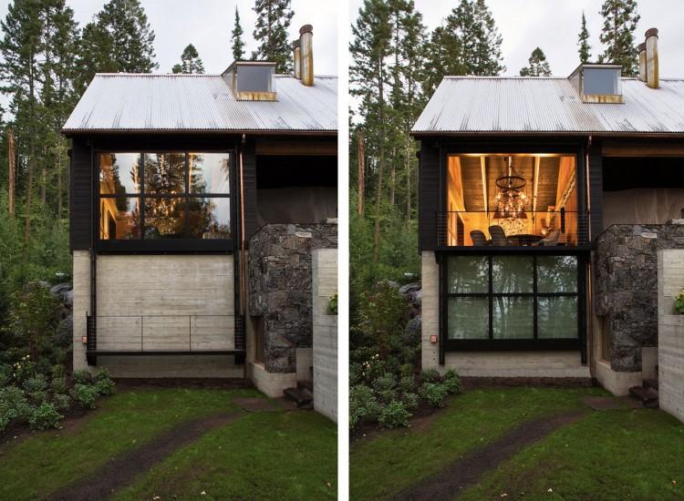 casa de campo roca y madera 10