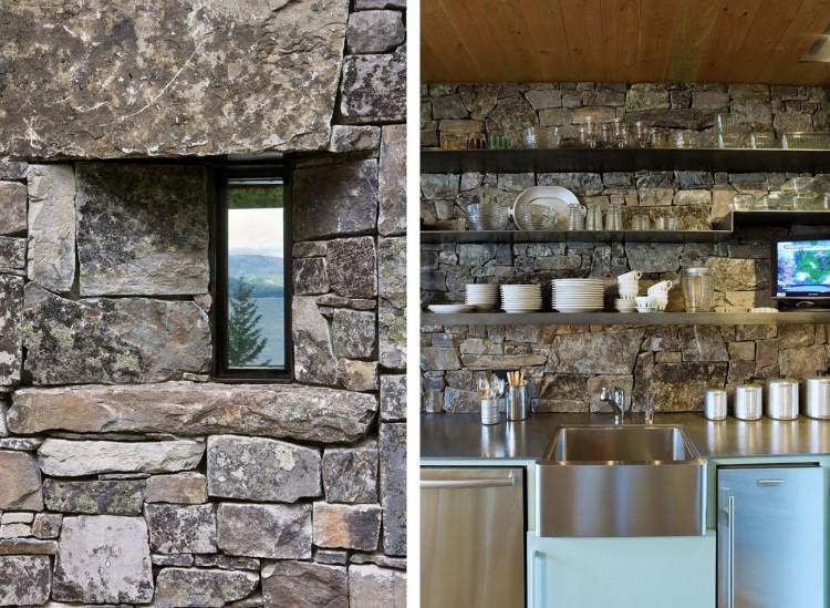 casa de campo roca y madera 14