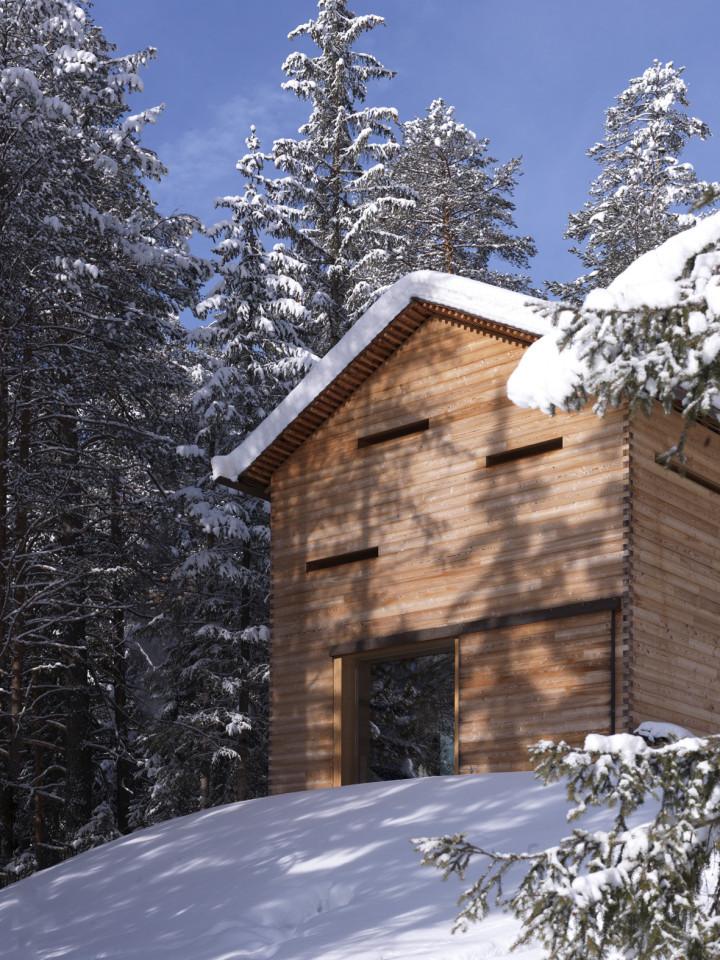 Refugio alpino hecho en madera con un toque moderno 3