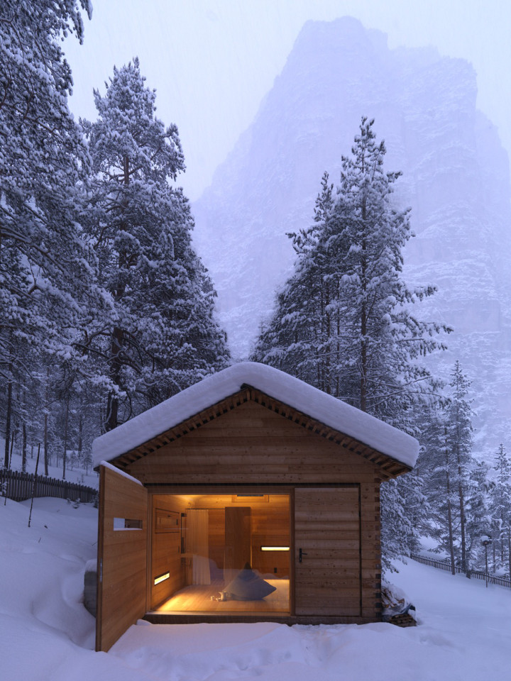 Refugio alpino hecho en madera con un toque moderno 4