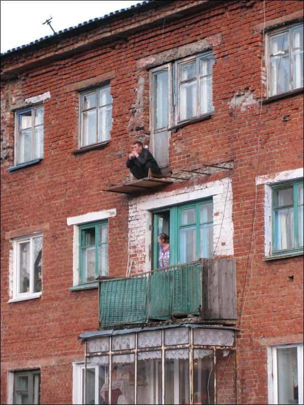balcones diseñados en Rusia tabla de madera