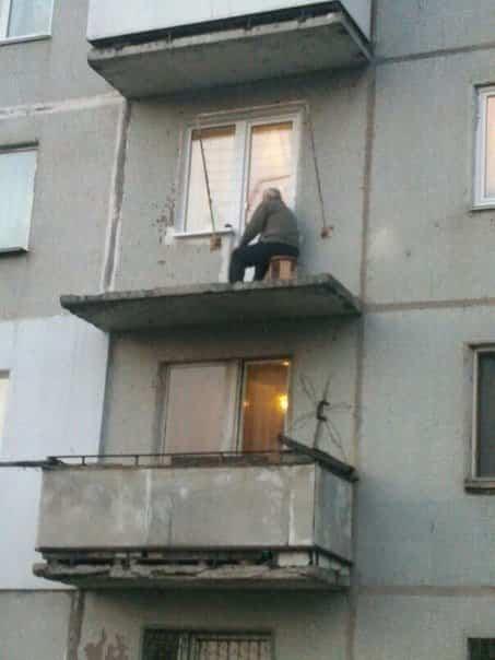 balcones diseñados en Rusia sin seguridad