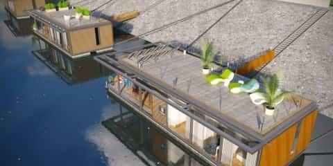 casas flotantes en el río Danubio vistas desde arriba
