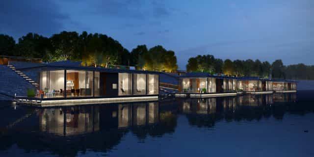 casas flotantes en el río Danubio parecen pequeñas islas