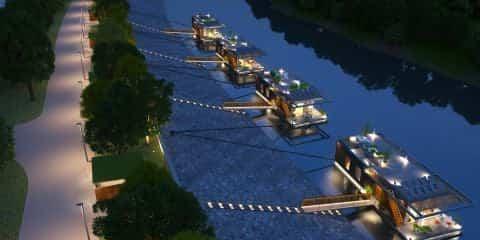 comunidad de casas flotantes en el río Danubio