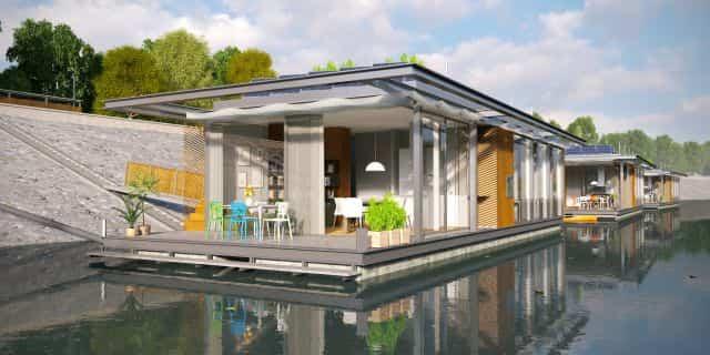 casas flotantes en el río Danubio patio trasero