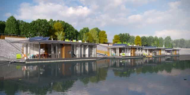 casas flotantes en el río Danubio vistas de día