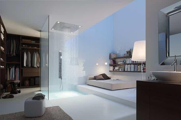 ideas para decorar tu hogar - ducha al lado de la cama