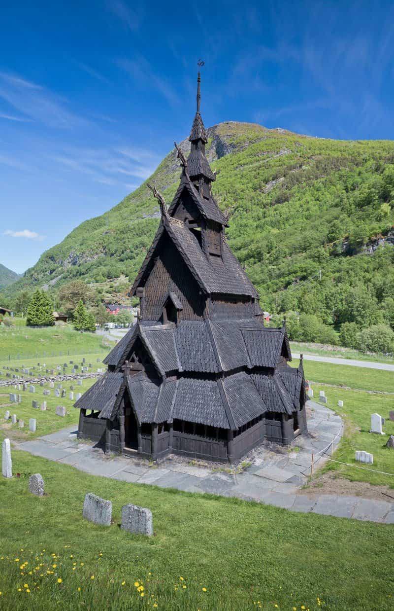 iglesia de madera cristiana levantada en Borgund
