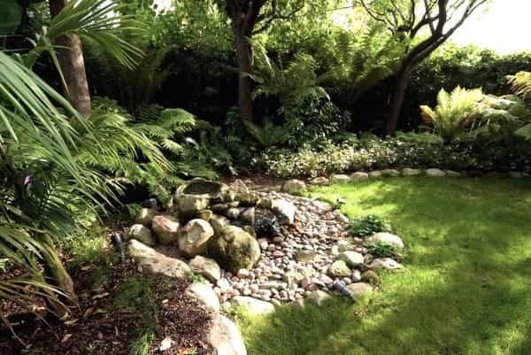 casa reformada para catorce gatos - jardín con estanque