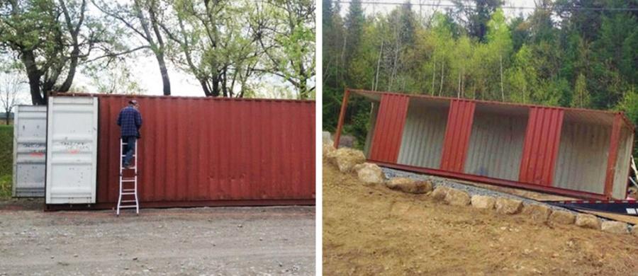 mansión con contenedores de mercancías - cortando los contenedores