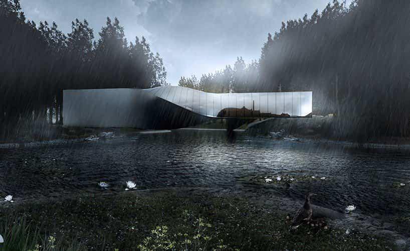 proyecto museo Kistefos noruega forma geométrica deformada