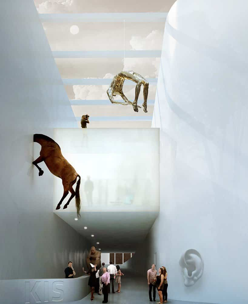 proyecto museo Kistefos noruega con triple altura de acceso