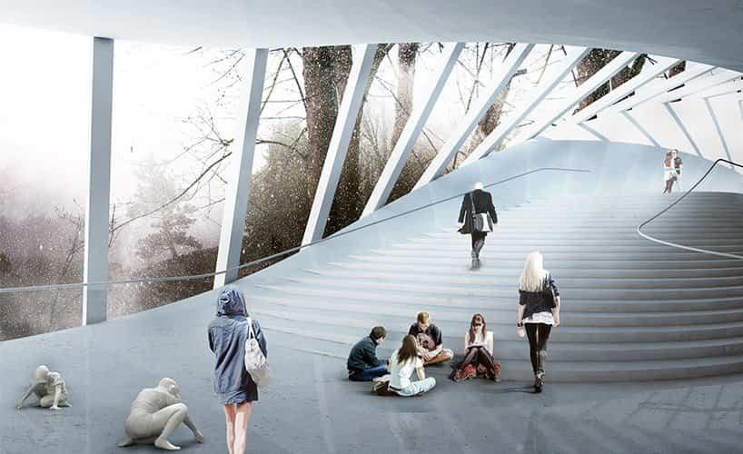 proyecto museo Kistefos noruega con escaleras en forma de abanico