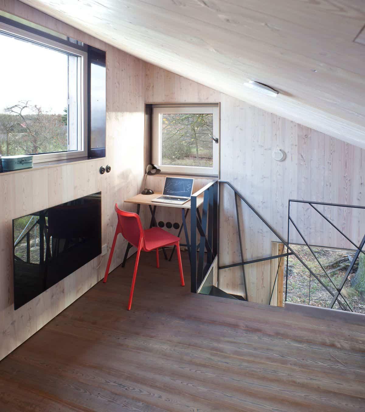 Casa de madera Zilvar - escritorio en una ventana