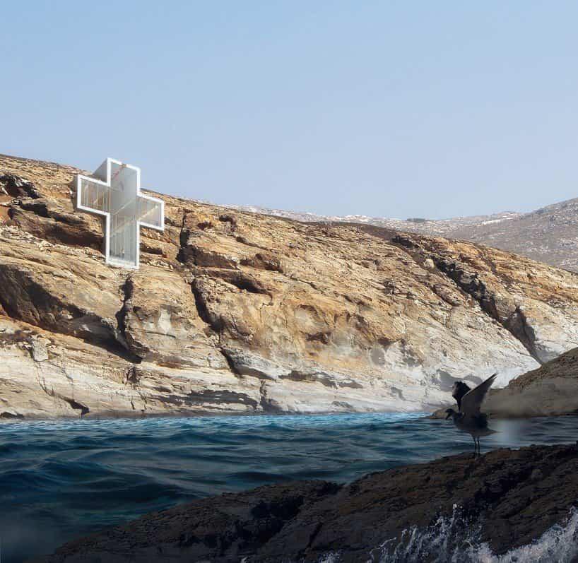 Iglesia de la santa cruz mar egeo fachada hacia el Mar Egeo