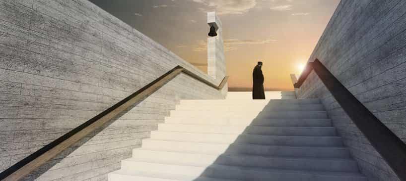 Iglesia de la santa cruz cuyas escaleras son del mismo material que la fachada