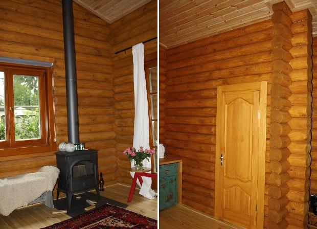 estufa para calentar la cabaña de madera