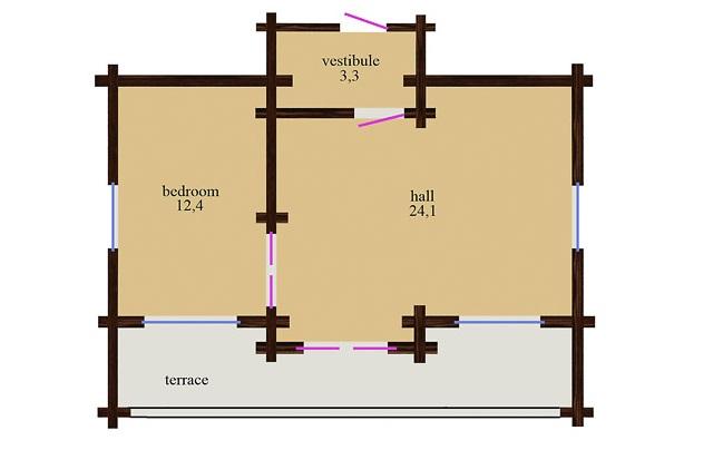 plano distribución cabaña de madera