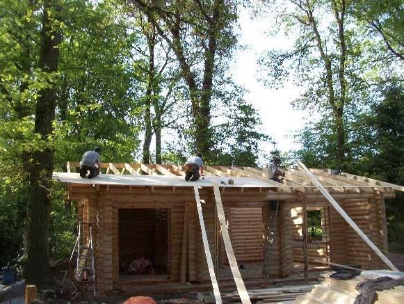 cabaña de madera cubierta del tejado