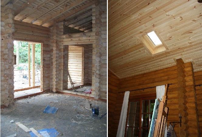 interior de la cabaña de madera