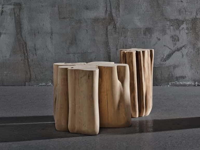 elementos naturales con los que decorar nuestro hogar - puf de madera