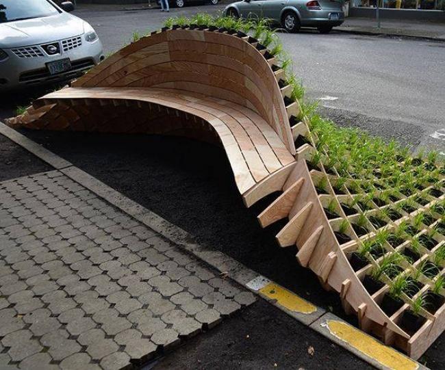 mobiliario urbano de alto diseño - banco con jardin