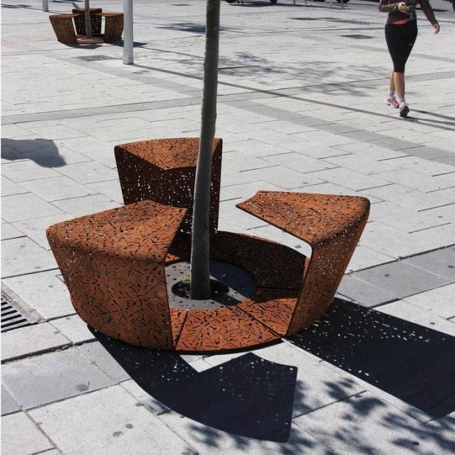 mobiliario urbano de alto diseño - banco protector de árboles