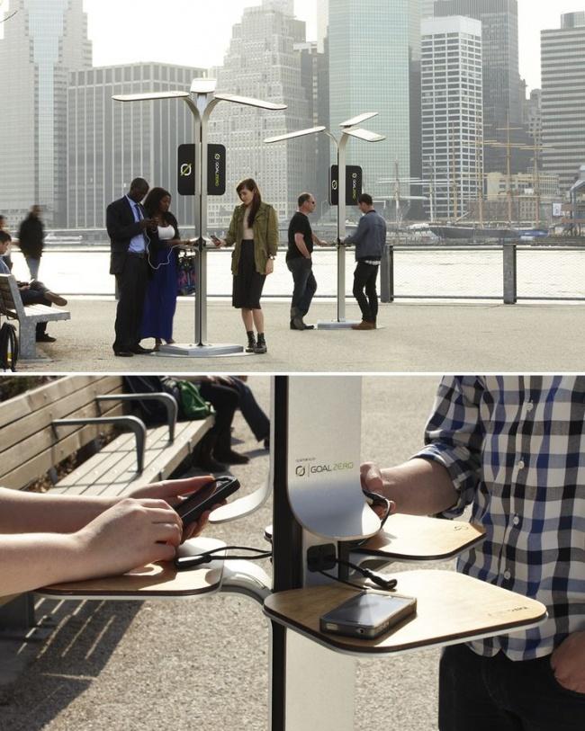 mobiliario urbano de alto diseño - estación de recarga de móviles