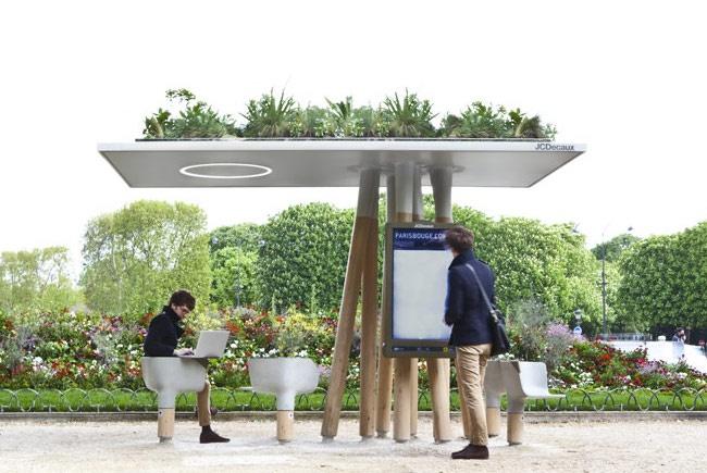 mobiliario urbano de alto diseño - estación wifi verde