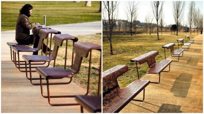 mobiliario urbano de alto diseño - mesa y silla