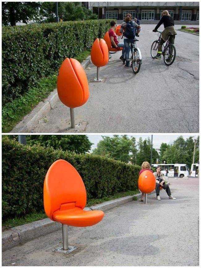 mobiliario urbano de alto diseño - sillas tulipán