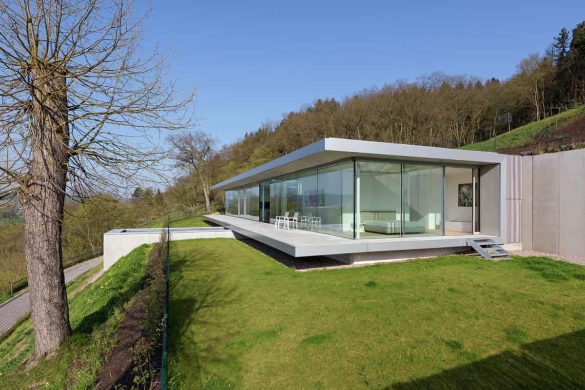 Proyecto Villa K en Alemania con fachada de cristal