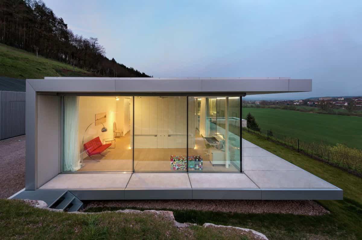 Proyecto Villa K en Alemania - zona techada en el patio