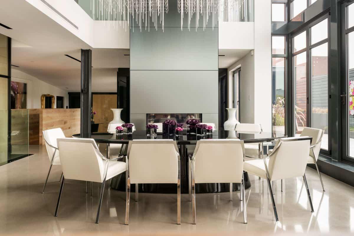 Residencia familiar - chimenea de acero inoxidable