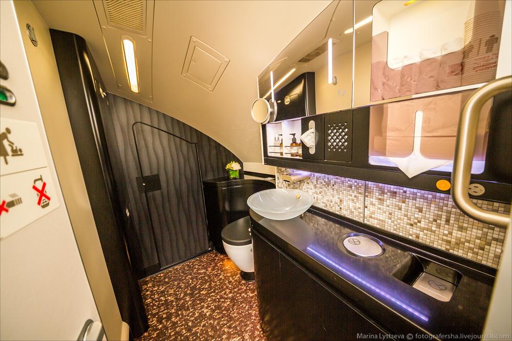 avión más lujoso del mundo - baño de lujo