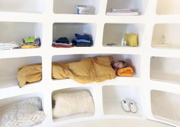 casa pequeña con forma de huevo gigante - cama incrustada en la pared
