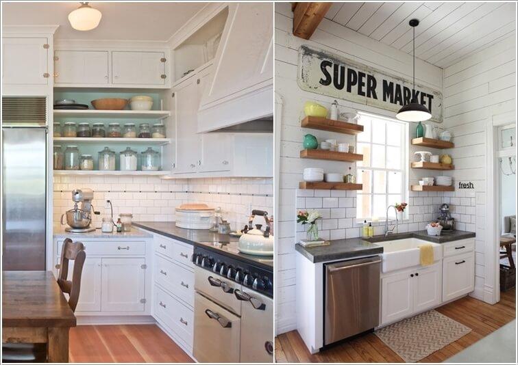 cocina parezca más grande - uso de estanterías