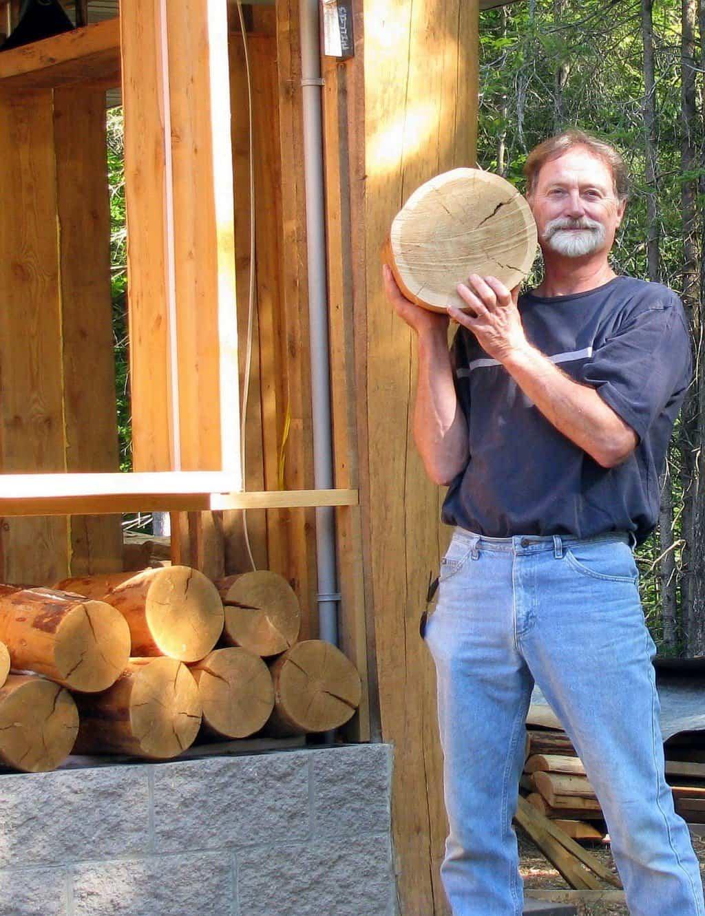 suelo con discos de madera - conseguir troncos redondos