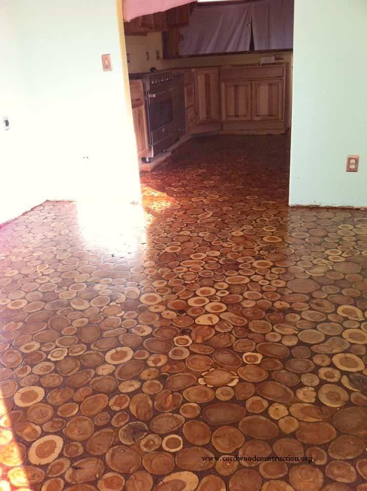 suelo con discos de madera - resultado final