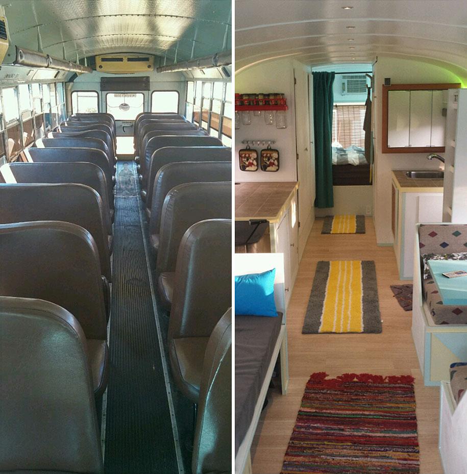 viejo autobús escolar convertido en casa - el antes y el después