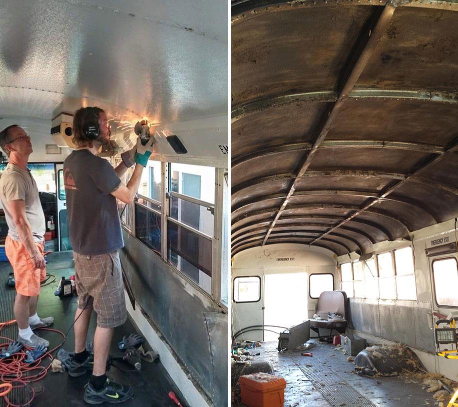 viejo autobús escolar convertido en casa - reformado con ayuda de su padre