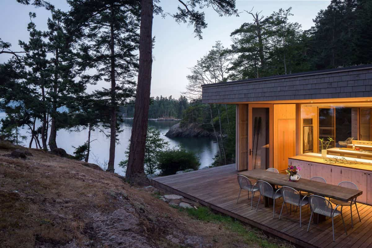 casa de campo moderna Lone Madrone vistas del lago