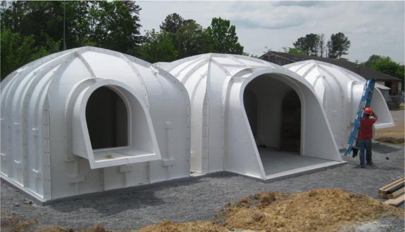 casas prefabricadas con césped construida con un polímero especial